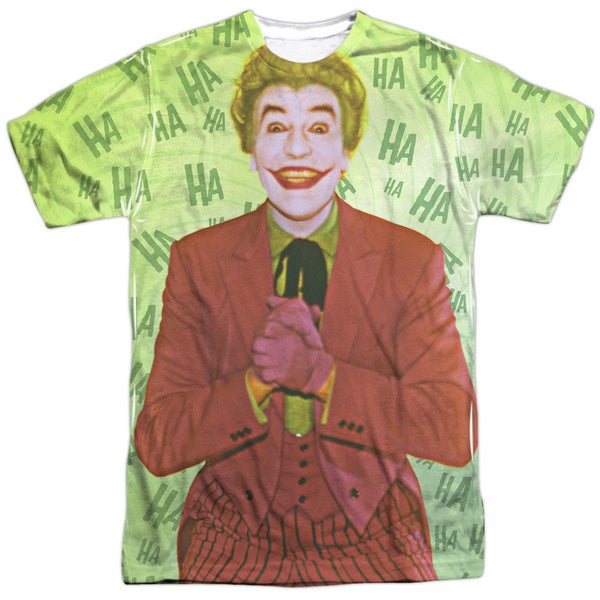 Batman Classic Tv/Jokes On You Short Sleeve Adult Poly Crew in Sublimate White