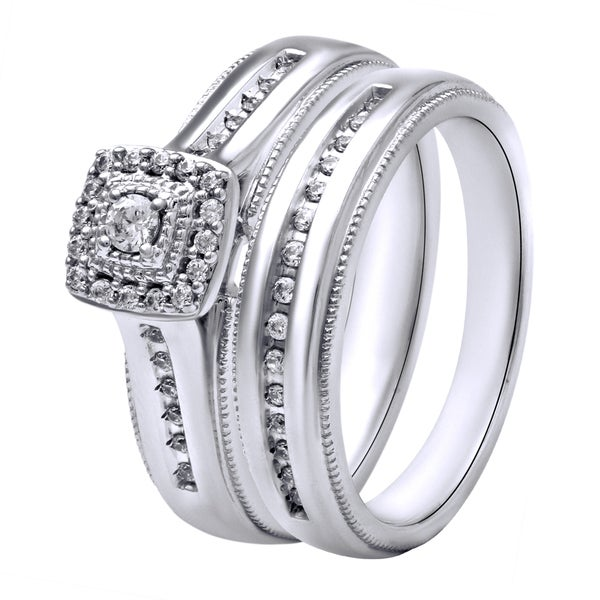 Sterling Silver 1/4CTtw Diamond Engagement and Wedding Ring Set (I-J, I2-I3)