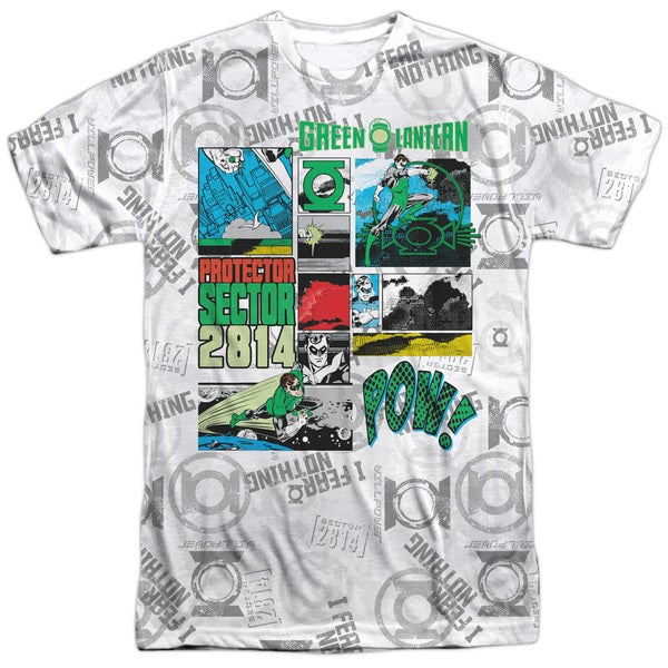 Green Lantern/Sector Protector Short Sleeve Adult 100-percent Polyester Crew in White