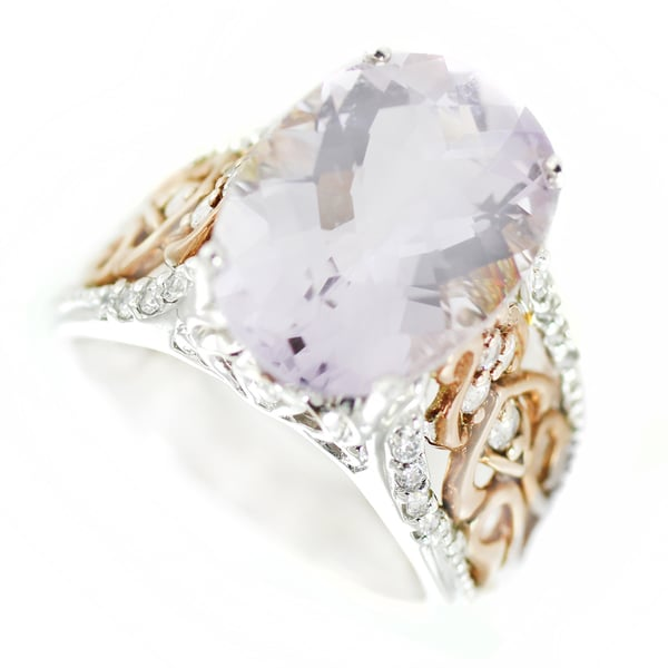 One-of-a-kind Michael Valitutti Check Top Pink Amethyst with White Topaz Cocktail Ring