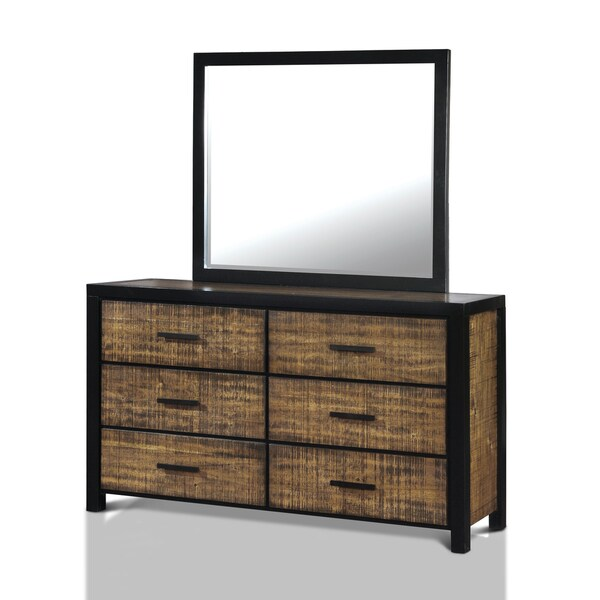 Furniture of America Marson Rustic 2-piece Two-Tone Black/Oak Dresser and Mirror Set