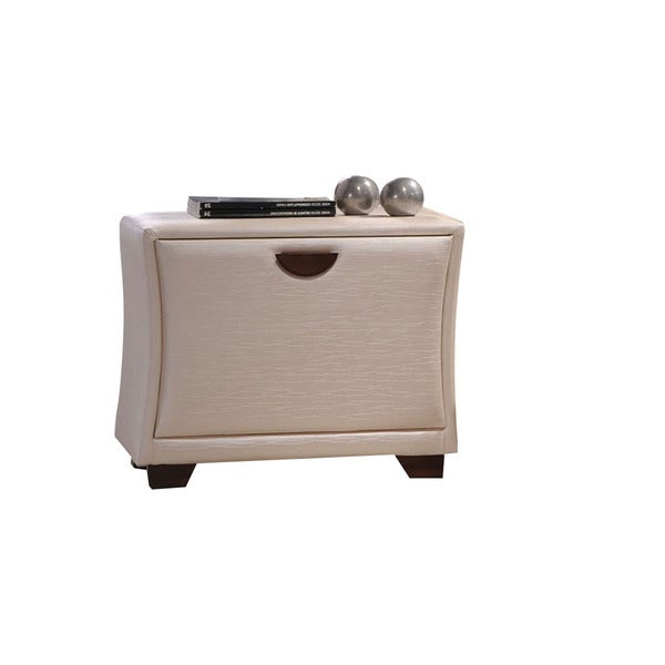Galton Pearl Faux-leather Nightstand