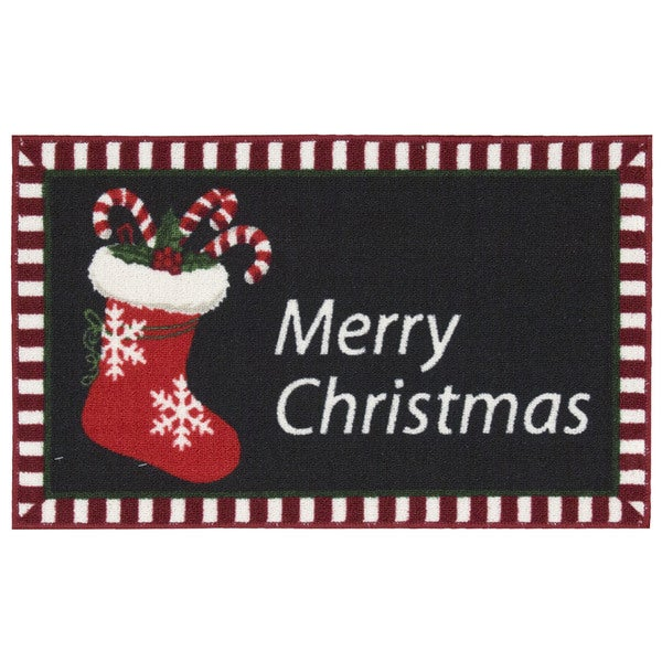 Nourison Essential Elements Merry Christmas Stocking Black Accent Rug (1'5 x 2'4) 20600309