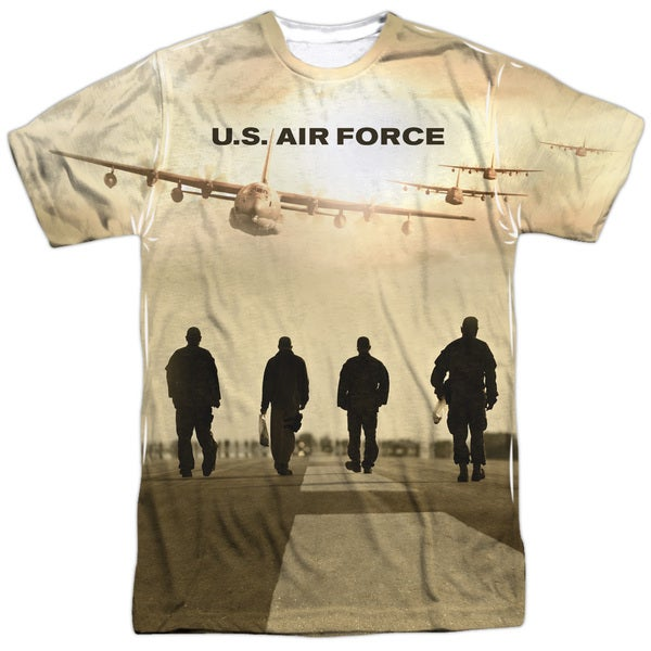 Air Force/Long Walk (Front/Back Print) Short Sleeve Adult Poly Crew in Sublimate White 20601574