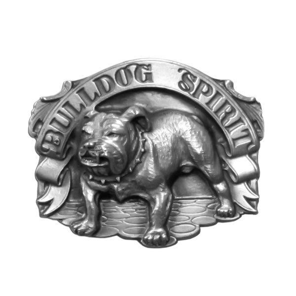 Bulldog Spirit Grey Metal Antique Belt Buckle