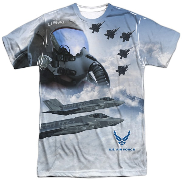 Air Force/Pilot (Front/Back Print) Short Sleeve Adult Poly Crew in Sublimate White 20601657