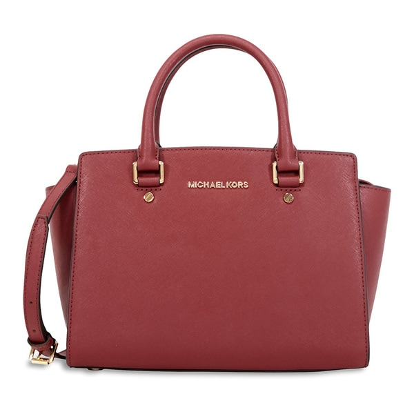 Michael Kors Selma Brick Red Leather Medium Satchel Handbag