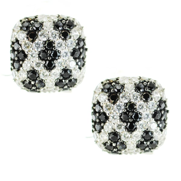 One-of-a-kind Michael Valitutti Black and White Cubic Zirconia Omega Back Pave Earrings