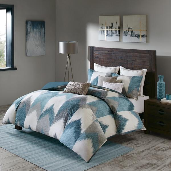 INK+IVY Alpine Aqua Cotton Printed Comforter Mini Set