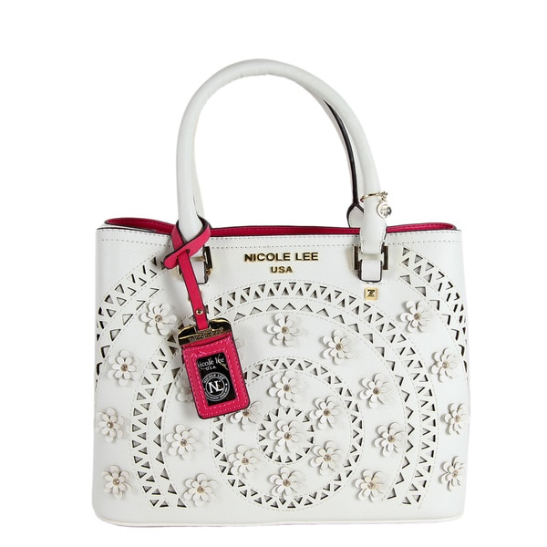 Nicole Lee Farley White Flowery Tote Bag