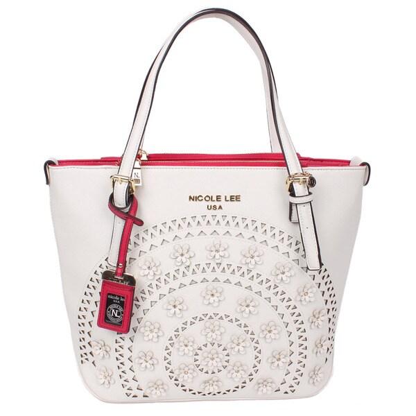 Nicole Lee Farley White Flowery Shopper Tote Bag