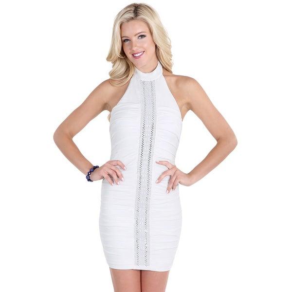 Nikibiki Women's Off-white Polyester/Spandex High-neck Dress