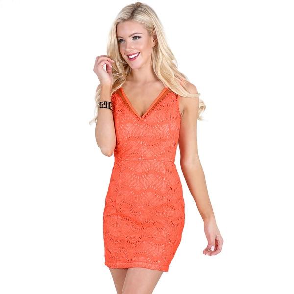 Nikibiki Women's Neon Coral Polyester V-Neck Mesh Paneled Lace Dress