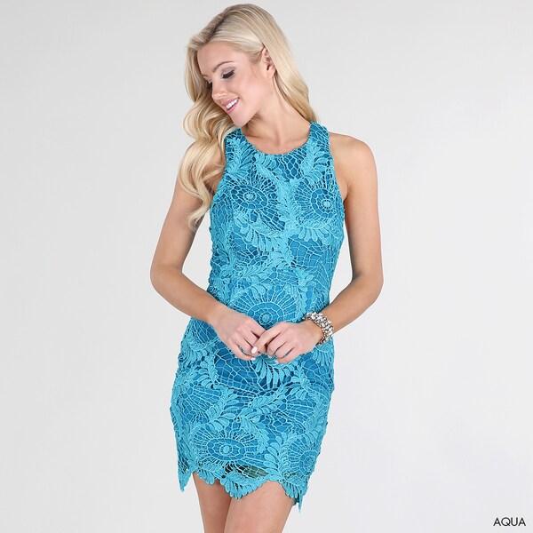 Nikibiki Women's Aqua Blue Sleeveless Lace Dress
