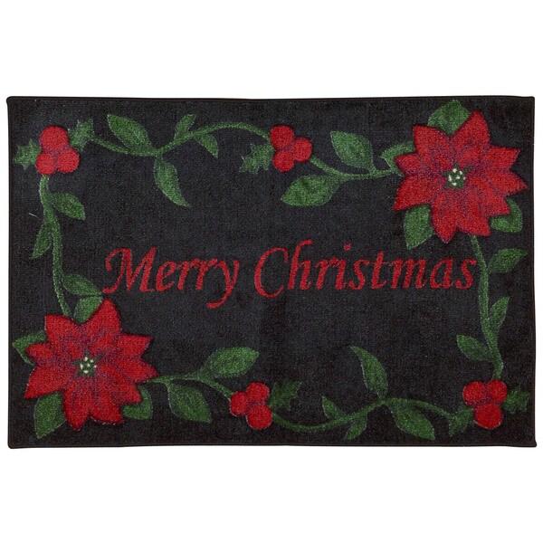 Nourison Accent Decor Merry Christmas Black Accent Rug (1'6 x 2'6) 20603432