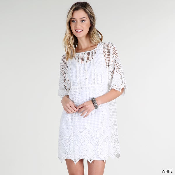 NikiBiki Women's White Polyester Chemical Lace Tunic Dress