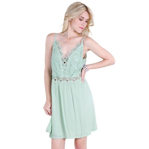 Nikibiki Women's Mint Green Rayon Leaf Lace-trim Slip Dress