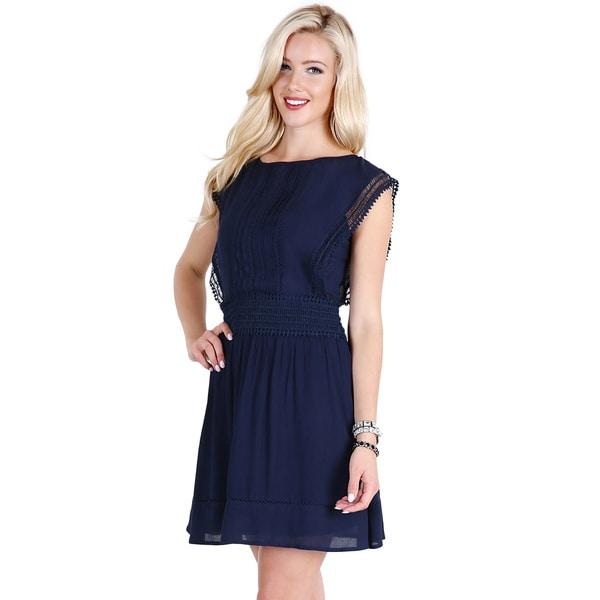 Nikibiki Women's Navy Rayon Lace-trim Applique Gauze Dress