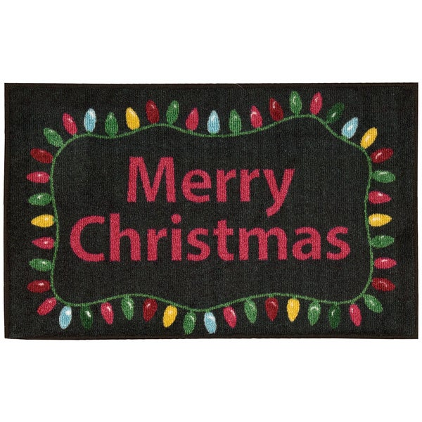 Nourison Accent Decor Merry Christmas Lights Black Accent Rug (1'6 x 2'6) 20603464
