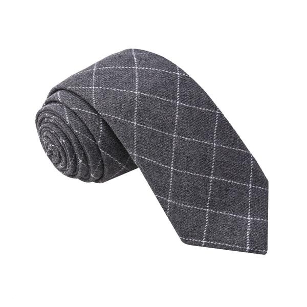 Knot Society Men's Grey Check Pattern Skinny Cotton Tie
