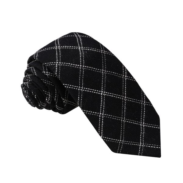 Knot Society Men's Black Check Pattern Skinny Cotton Tie