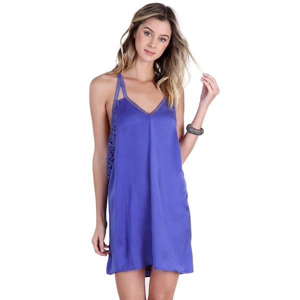 NikiBiki Women's Lavender Blue Lace-inserted Satin Slip Dress