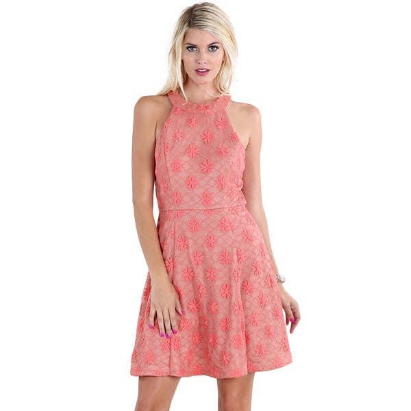 Nikibiki Women's Coral Halter Floral Lace Dress