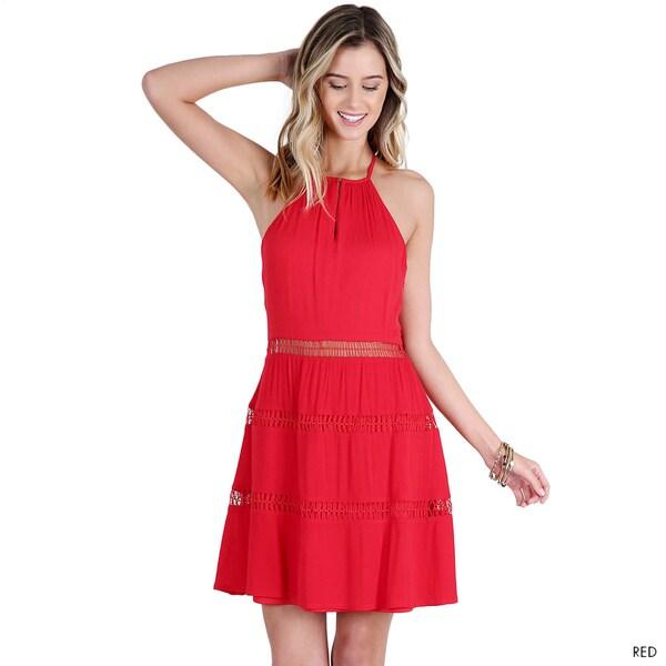 Nikibiki Women's Red Crochet Inserted Y-Back Dress