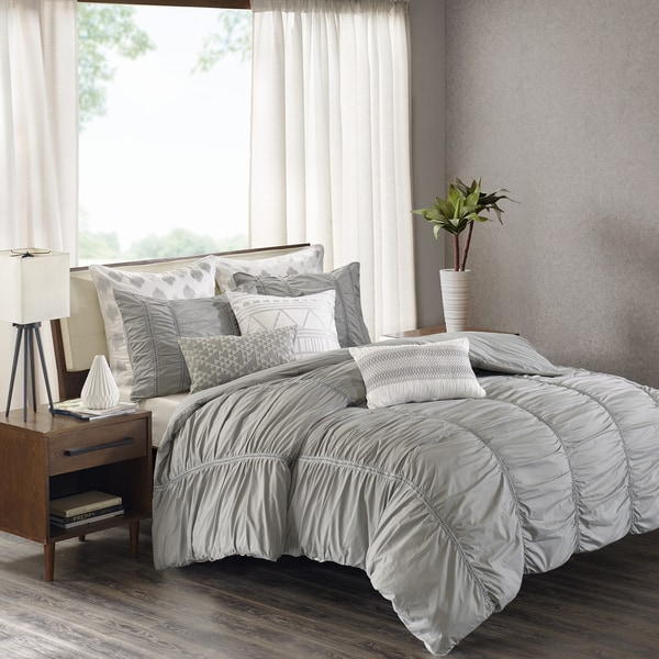INK+IVY Reese Grey Cotton Percale Ruched Metallic Twill Taped Comforter Mini Set