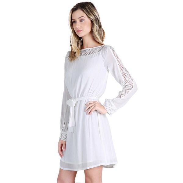 Nikibiki Women's Off-White Lace Panel Chevron Dress