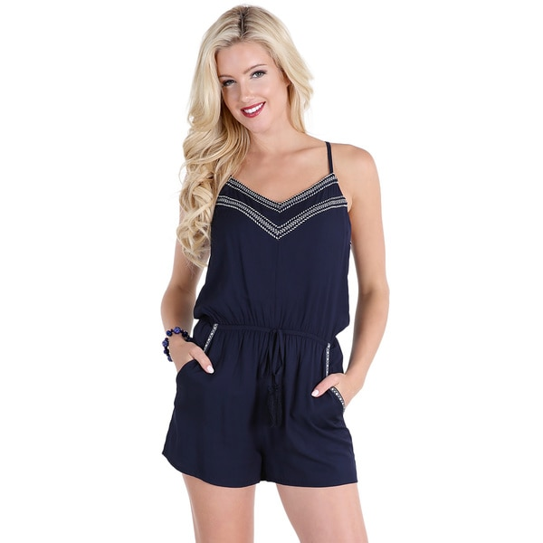 NikiBiki Women's Navy Embroidery Trim Tape Romper