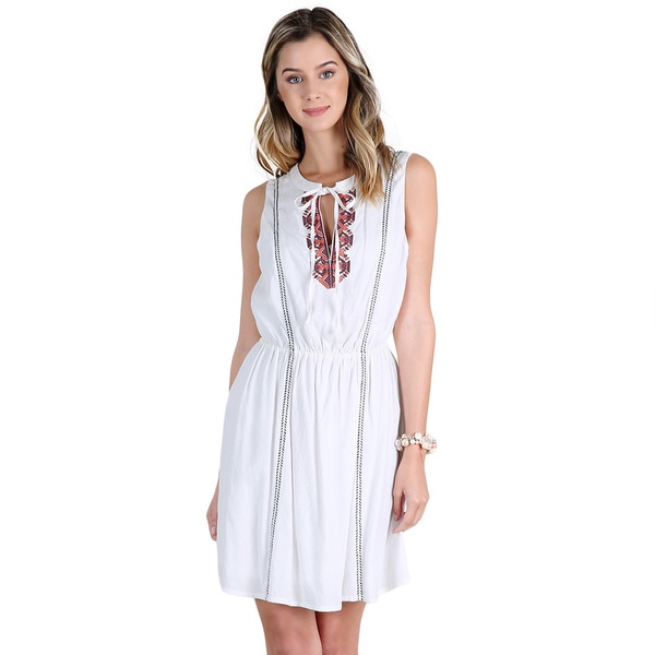 Nikibiki Women's Off-white Rayon/Spandex Ethnic Embroidered Sleeveless Dress