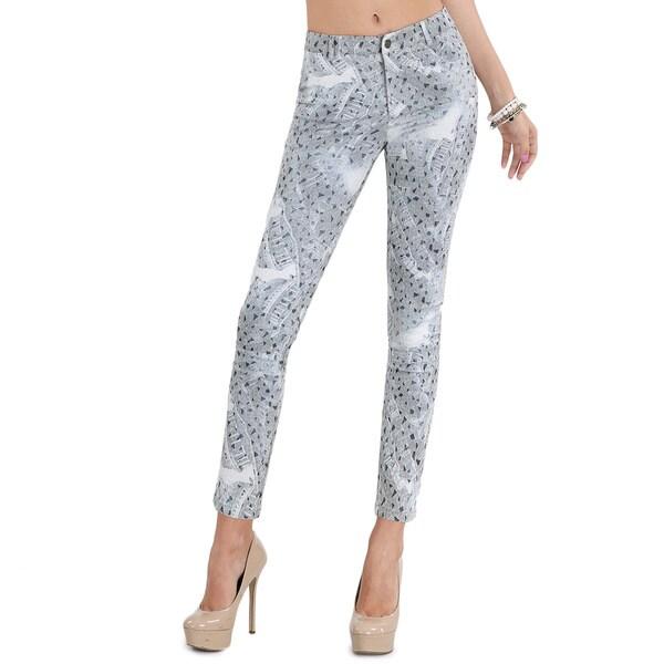 Nikibiki Women's Grey Polyester and Spandex Geo-pattern Denim Skinny Pants