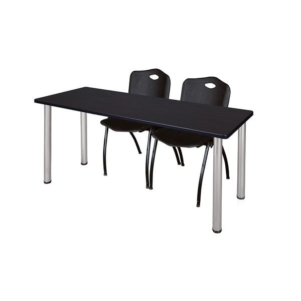 Kee Black 66-inch x 24-inch Training Table with 2 Black 'M' Stack Chairs 20605079