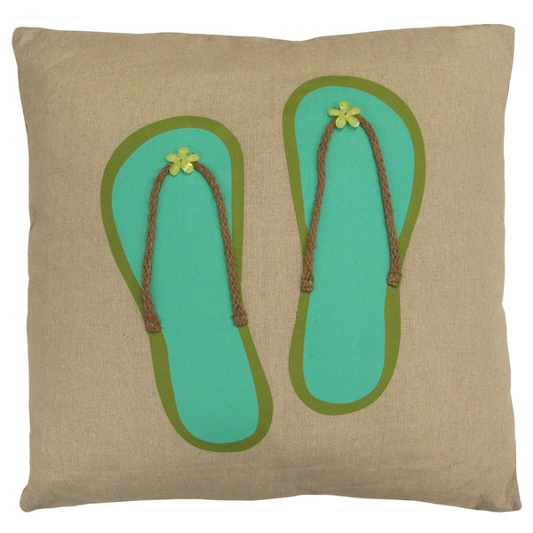 Artistic Linen Flip-Flop With Intricate Detail Decorative Throw Pillow