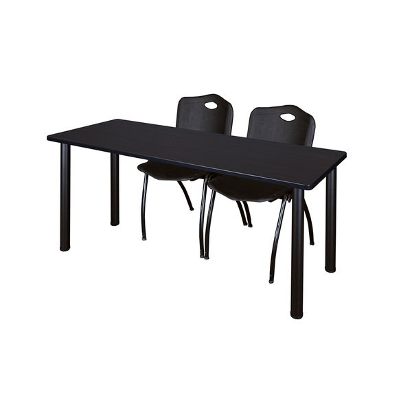 Kee Black 60-inch x 24-inch Training Table with 2 Black 'M' Stack Chairs 20605257