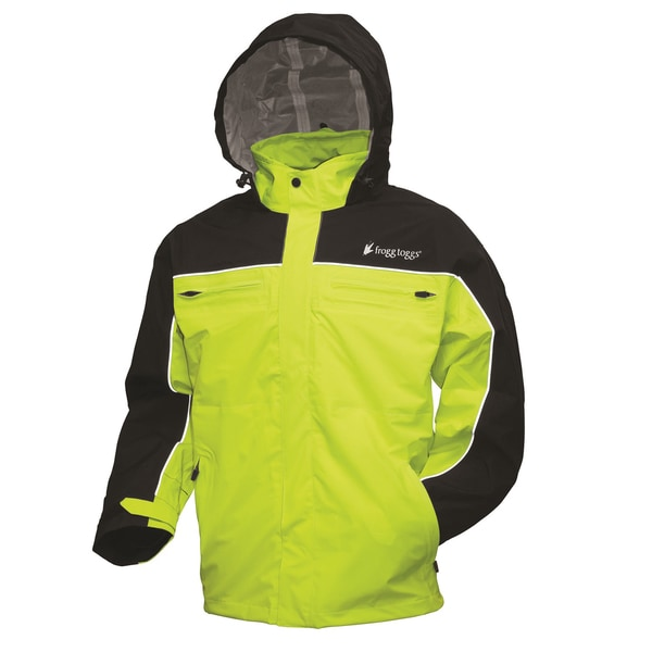 Frogg Toggs Black and Hi-Viz Green Pilot Cruiser Jacket