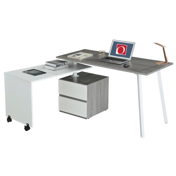 Modern Designs Grey PVC/Steel Rotating Multi-positional Computer Desk With Storage