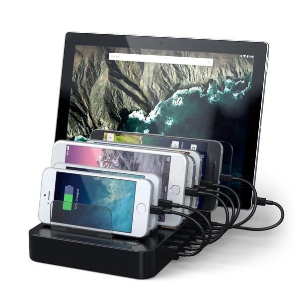 Satechi Black 7-Port USB Charging Station Dock with 2 x Type-C Ports for Nexus 5X/ 6, LG G5, HTC 10/3, iPhone, iPad, Samsung