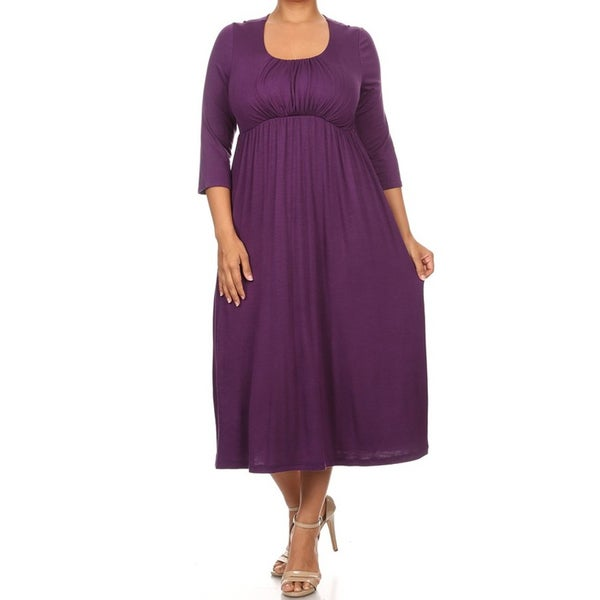 Women's Rayon/Spandex Scoop-neck Midi Dress