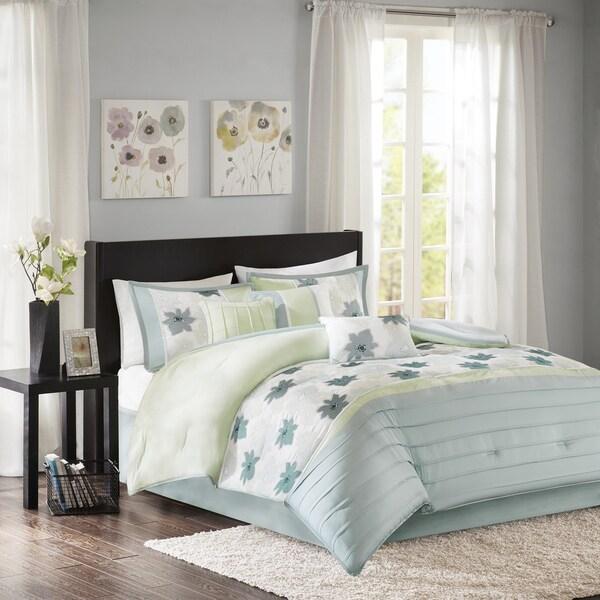 Madison Park Cindy Aqua 7 Piece Comforter Set