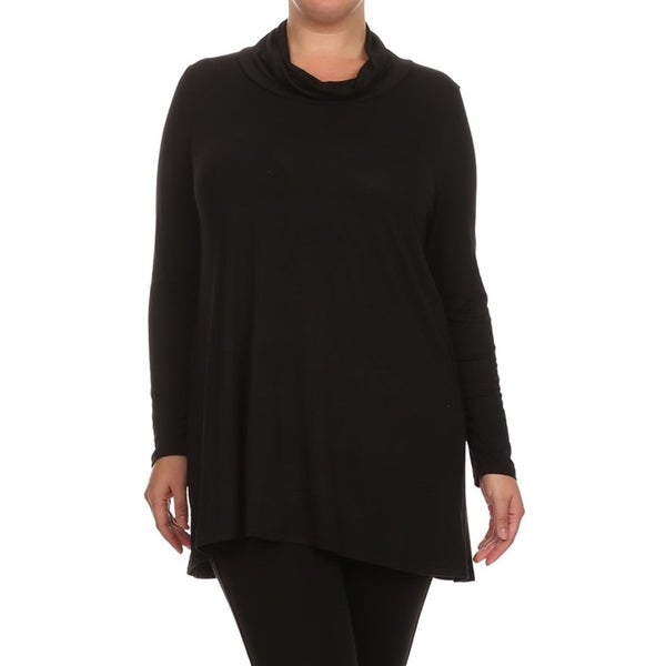 Women's Plus Size Women's Black/Grey Rayon Cowl Neck Top
