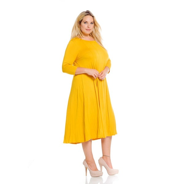 Women's Mustard Plus-size Dress