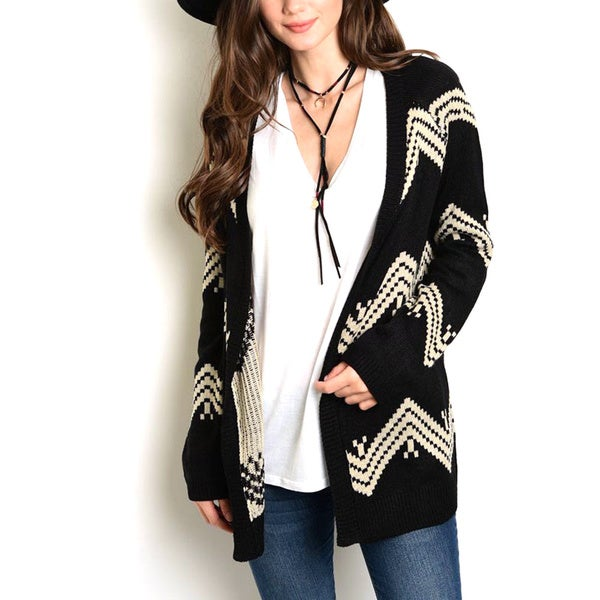 JED Women's Black Chevron Print Slouchy Sweater Cardigan
