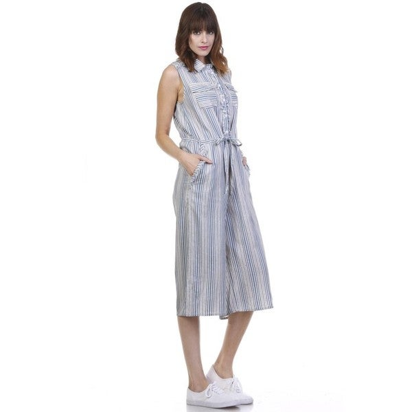 JED Women's Blue/White Striped Button-down Sleeveless Culottes Jumpsuit