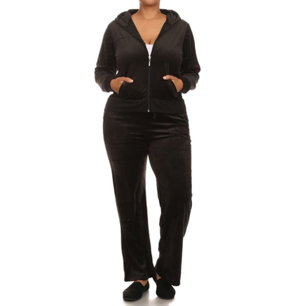 JED Women's Plus-size Velour 2-piece Hoodie Sweatsuit