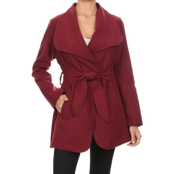 JED Women's Wide-collar Loose-fitting Coat with Waist Tie