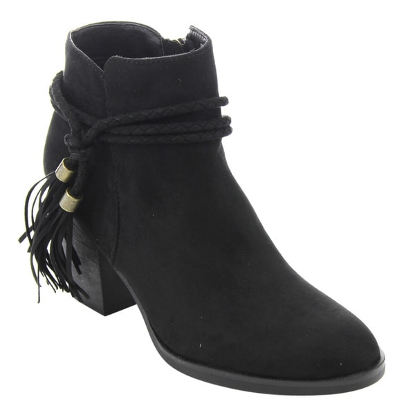 Bamboo ED54 Women's Braided Tassel Side-zipper Chunky High Heel Ankle Booties