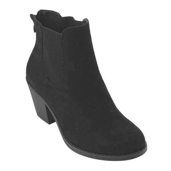 Refresh AD75 Women's Elastic-gusset Back-zipper Block-heel Ankle Booties