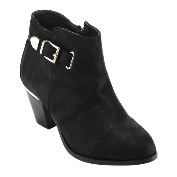 Bella Marie AD62 Women's Black Faux Leather Buckle Side-zipper Block-heel Ankle Booties
